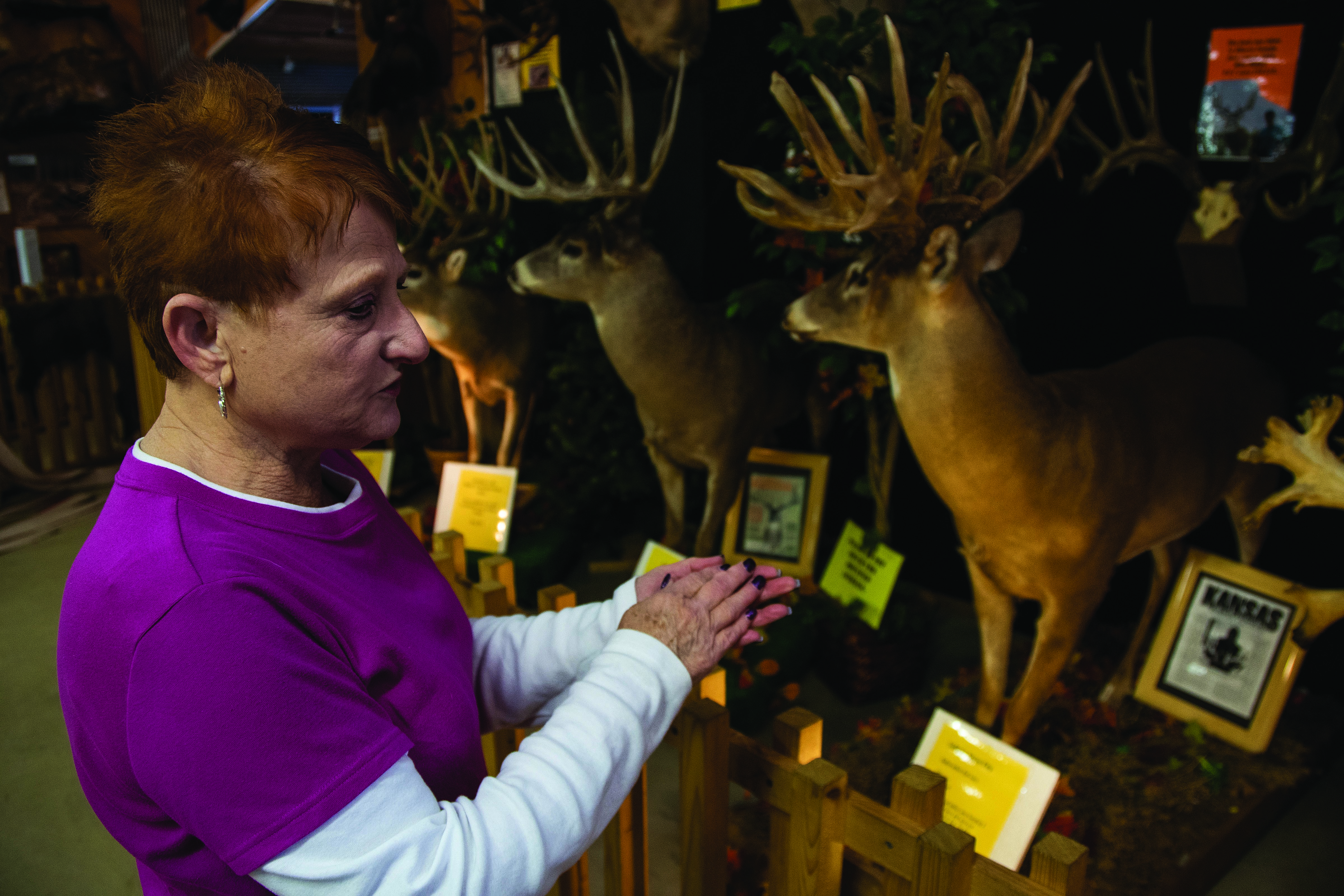 "DEER DIORAMA: Ethel ""Rusty"" Snyder, United Electric Cooperative member and owner of the Double Diamond Deer Ranch in Cooksburg, Pa., shows off the deer museum attached to the front of her home."